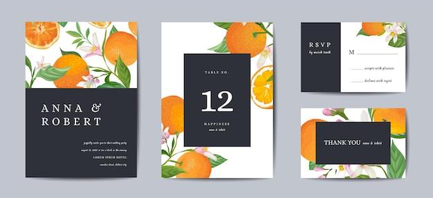 식물 복고풍 결혼식 초대 카드, 빈티지 저장 날짜, 오렌지 과일과 잎의 템플릿 디자인, 감귤 꽃 삽화. 벡터 유행 표지, 파스텔 그래픽 포스터, 브로셔