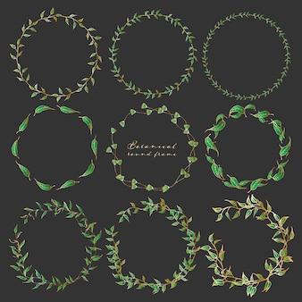 Набор ботанических круглых рам, рисованной цветы.