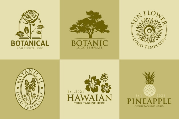 Набор ботанических винтажных шаблонов логотипов