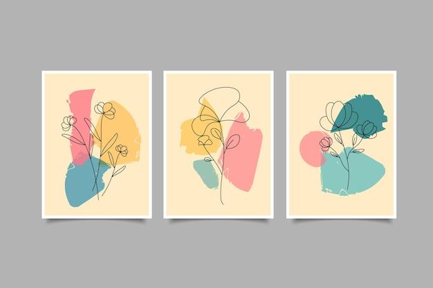 Набор ботанических настенных рисунков рисованной