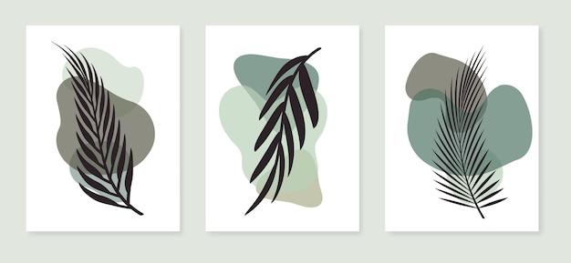 열대 잎이 있는 식물 벽 예술 현대 미술 포스터 컬렉션 세트