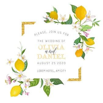 植物の結婚式の招待カードのセット、ヴィンテージsave the date、レモンフルーツの花と葉のテンプレートデザイン、花のイラスト。ベクトル流行の表紙、グラフィックポスター、パンフレット