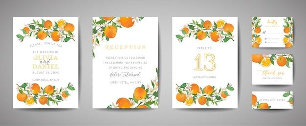 식물 결혼식 초대 카드 세트, 빈티지 저장 날짜, 오렌지, 감귤류 과일, 꽃과 잎, 꽃 삽화의 템플릿 디자인. 벡터 유행 표지, 그래픽 포스터, 브로셔
