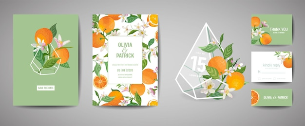 식물 결혼식 초대 카드 세트, 빈티지 저장 날짜, 오렌지 과일, 꽃과 잎의 템플릿 디자인, 꽃 삽화. 벡터 유행 표지, 그래픽 포스터, 브로셔