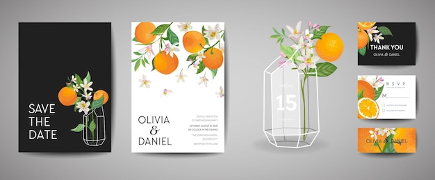 식물 청첩장 세트, 빈티지 저장 날짜, 오렌지 과일, 꽃, 잎, 꽃 삽화의 템플릿 디자인. 벡터 유행 표지, 그래픽 포스터, 감귤 브로셔