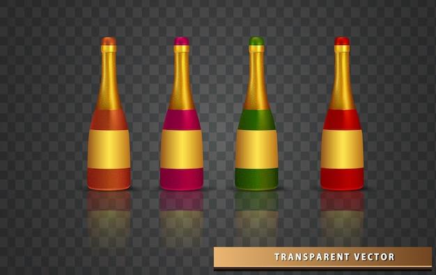シャンパンスパークリングワインのリアルなボトルのボトルのセット