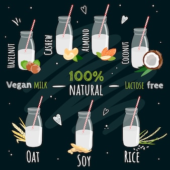 Набор бутылок веганского молока. виды немолочного молока: соевое, рисовое, овсяное, кокосовое, миндальное, кешью, фундук. натуральный, растительный, экологичный продукт. не содержит лактозы. иллюстрация на черном фоне.
