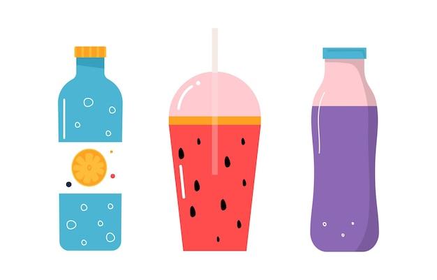 Набор бутылок с лимонной водой, смузи арбузом, молочным коктейлем. и нарисованные модные векторные иллюстрации. мультяшный стиль. плоский дизайн.