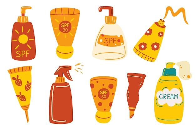 Набор бутылок с солнцезащитными кремами. защита кожи от солнечного ультрафиолета. набор солнцезащитного крема и лосьона, изолированные на белом фоне. плоский набор солнцезащитных векторных иконок для веб-дизайна