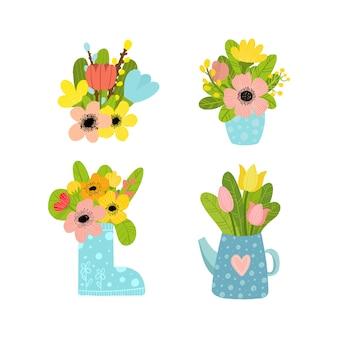 Набор букетов цветов в вазах. оставайся дома