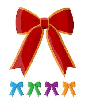 リボン付き弓のセットです。装飾ギフト、挨拶、休日の要素。新年あけましておめでとうございます装飾。メリークリスマスの休日。新年とクリスマスのお祝い。