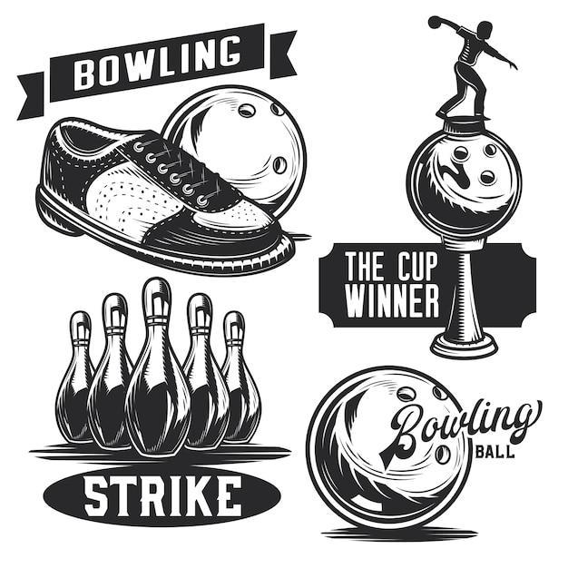 Набор эмблем для боулинга, этикеток, значков, логотипов.