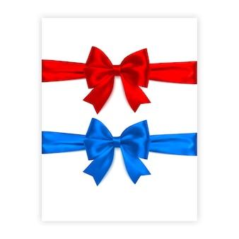 シルクから作られた白い背景ベクトルに分離された赤と青の色の弓のセット
