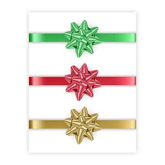 白い背景で隔離赤緑と金色の弓のセット