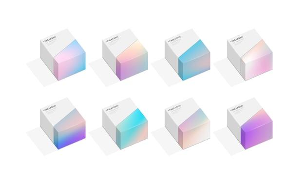 Набор коробки или шаблона иллюстрации дизайна упаковки для подарков.