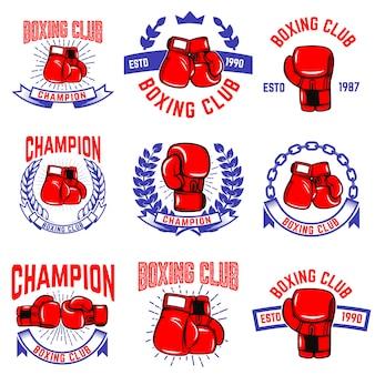 ボクシングクラブのエンブレムのセットです。ボクシンググローブ。ロゴ、ラベル、バッジ、記号、ブランドマークの要素。図