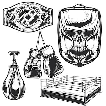 独自のバッジ、ロゴ、ラベル、ポスターなどを作成するためのボクシング要素のセット。