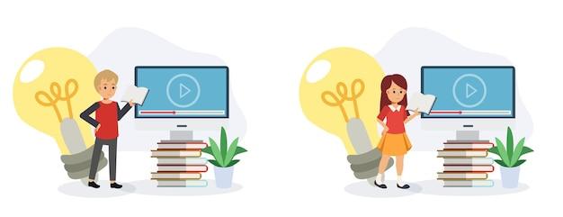 Набор мальчик и девочка держит книгу во время обучения онлайн. обучение из дома концепции, обучение онлайн, видеозвонок электронного обучения. плоская векторная иллюстрация персонажа из мультфильма 2d.