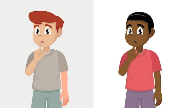 Набор мальчика, просящего молчать с пальцем на губах