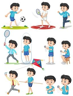 さまざまな種類のスポーツをしている少年のセット