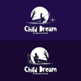 Набор мальчика, ловящего рыбу на звезду в дизайне логотипа луны