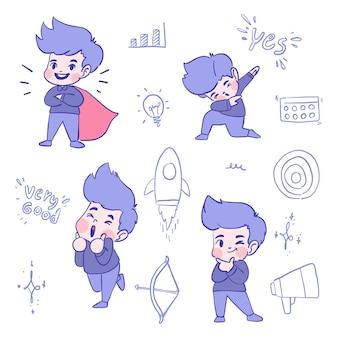 Набор мальчика с разными эмоциями и выражениями