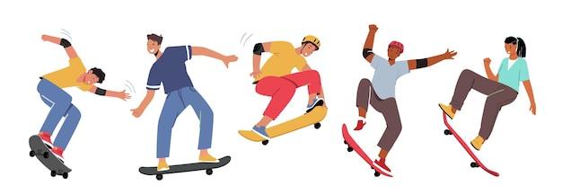 Набор деятельности скейтбординга мальчиков и девочек. молодые люди катаются на лонгборде, прыгают и делают трюки и трюки. свобода жизни фигуриста. городской скейтборд-спорт. векторные иллюстрации шаржа