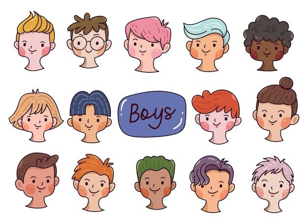 男の子のアバターのセットは、漫画の落書きスタイルで多様な顔を手描き