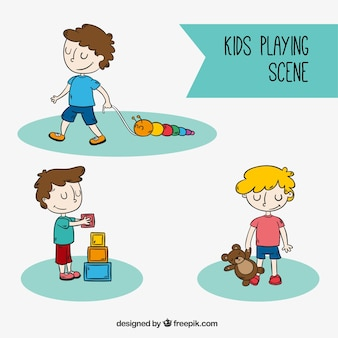 Set of boys playing alone