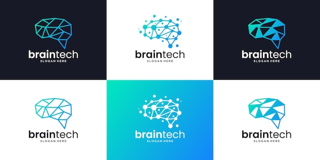 뇌 연결 로고 디자인의 세트