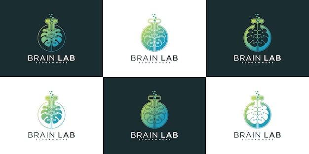 멋진 그라데이션 색상 스타일 프리미엄 벡터가 있는 뇌 실험실 로고 디자인 컬렉션 세트