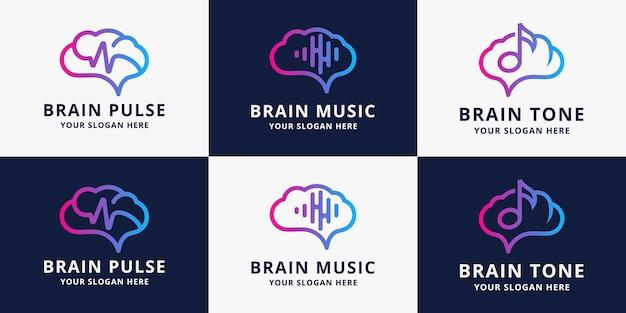 Набор дизайна логотипа импульса музыки мозга