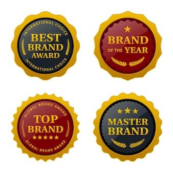 Набор этикеток награды бренда