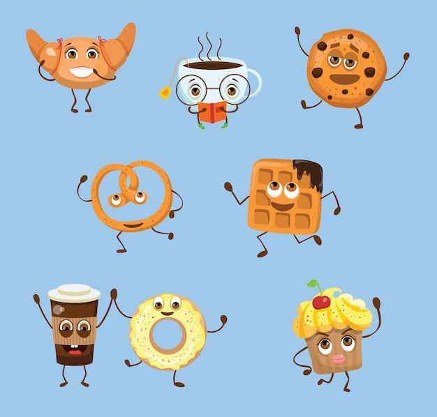 パン製品、ベーカリーアイテム、コーヒーショップの要素、ベーカリーショーケースのセット。パン屋やカフェのフラットスタイルのイラスト。