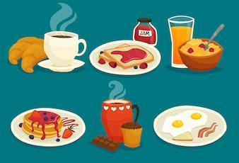朝食漫画アイコンのセット