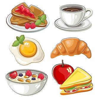 Set of breakfast in doodle style