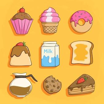 牛乳、カップケーキ、コーヒー、パンと朝食のセット