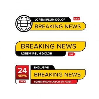 Комплект шаблона знамени последних новостей в различной форме.