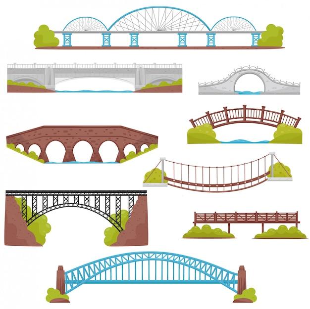 벽돌, 철, 나무 및 돌 다리의 집합입니다. 조경 요소. 건축과 도시 건설 테마