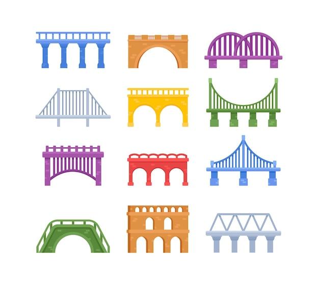 Набор мостов, городской архитектуры кроссовера и строительства для транспорта с проезжей частью, элементы дизайна городской инфраструктуры, изолированные на белом фоне