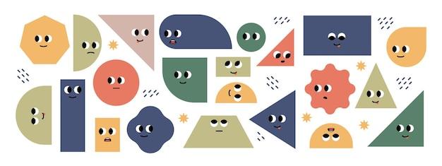 Набор ярких основных геометрических фигур с эмоциями лица различные формы симпатичные персонажи