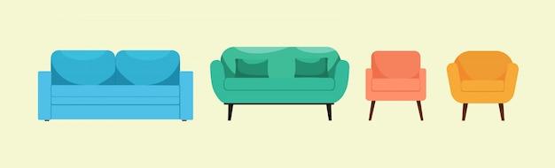 밝고 아름 다운 안락의 자 및 격리 된 배경에 높은 다리에 소파 세트. 로고, 아이콘, 인테리어 디자인 및 웹 페이지에 대 한 개념. 현대적인 디자인. 플랫 스타일. 삽화.