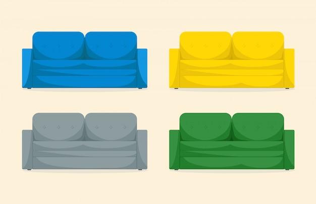 격리 된 흰색 배경에 파란색, 노란색, 회색, 녹색 색상의 인테리어 디자인을위한 밝고 아름 다운 소파 세트. 편안한 현대 플랫 스타일. 홈 살이 포동 포동하게 찐 가구의 컬러 아이콘