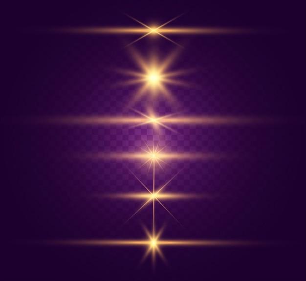 밝고 아름다운 별의 집합입니다. 조명 효과. 밝은 별. 설명 할 아름다운 빛. 크리스마스 스타. 흰색 반짝이는 특수 조명 효과로 반짝입니다. 투명 배경에 반짝임.