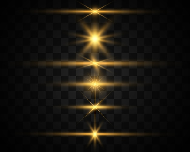 明るく美しい星のセットです。光の効果。輝く星。説明する美しい光。特別な光効果で白いグリッターが輝きます。ベクトルの輝き。
