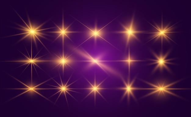 Набор ярких красивых звезд. световой эффект. яркая звезда.