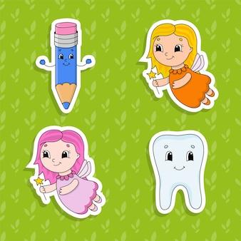아이들을위한 밝은 색상 스티커 세트. 귀여운 만화 캐릭터.