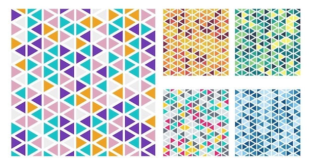 Набор ярких цветных треугольников простой узор на белом фоне. v