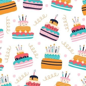 평평한 낙서 스타일의 흰색 배경에 밝은 다채로운 케이크 세트