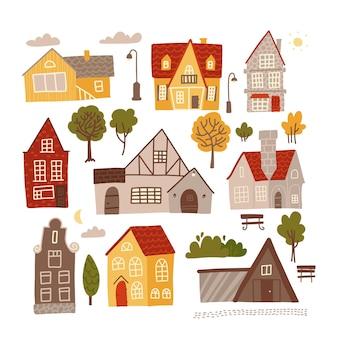 Набор ярких красочных фасадов небольших уютных домов для концептуального дизайна.